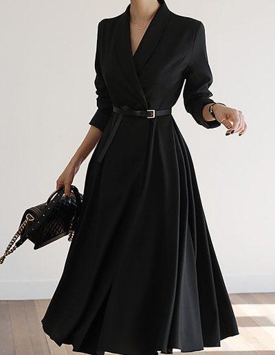 Uminchic V Neck Black Paneled Solid A-Line Date Midi Dress